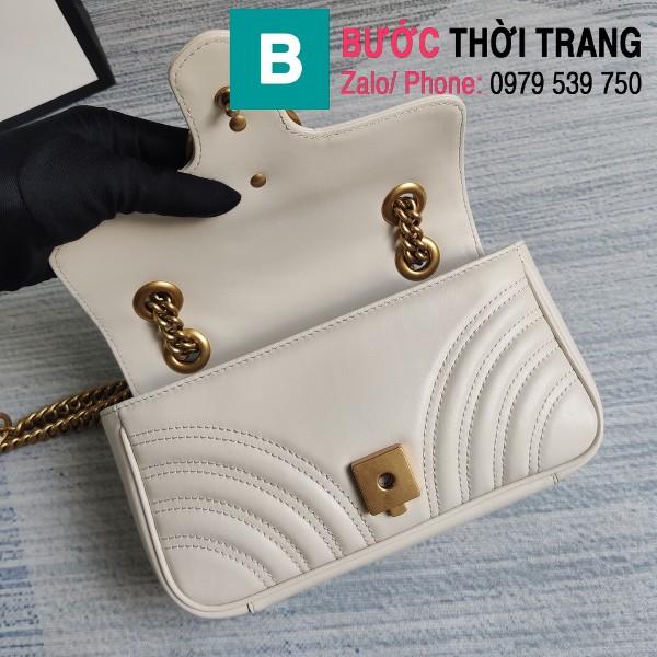 Túi xách Gucci Marmont matelasé mini bag siêu cấp màu trằng size 22cm - 446744