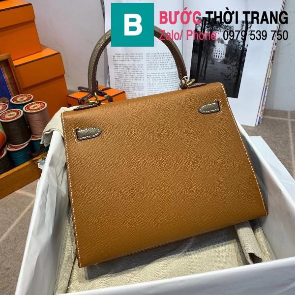 Túi xách Hermes Kelly bag siêu cấp da epsom màu bò size 25cm