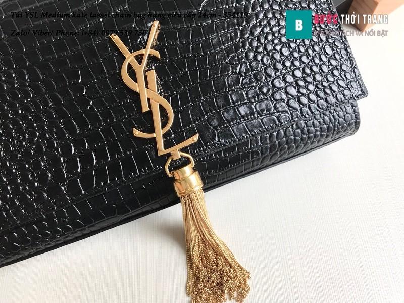 Túi YSL Medium kate tassel chain màu đen tag vàng dập vân cá sấu 24cm - 354119