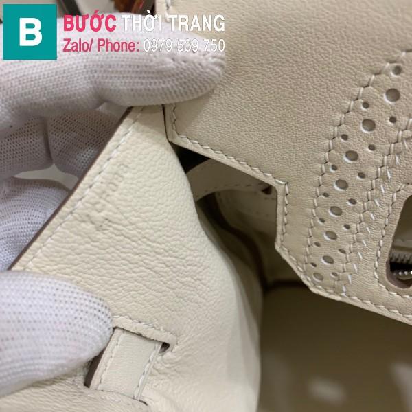 Túi xách Hermes Birkin siêu cấp da Togo màu trắng 3 size 30cm