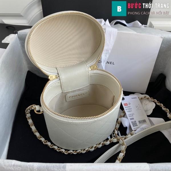Túi xách Chanel Vanity case lambskin bag blach siêu cấp màu trắng size 20 cm - AS2061
