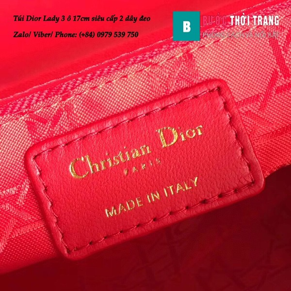 Túi Dior Lady 3 ô 17cm siêu cấp màu đỏ