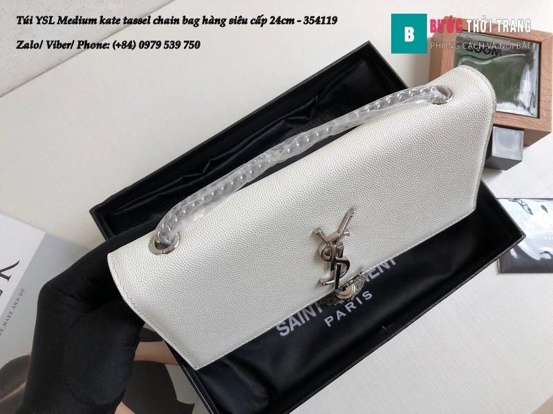 Túi YSL Medium kate tassel chain màu trắng tag bạc sấu 24cm - 354119