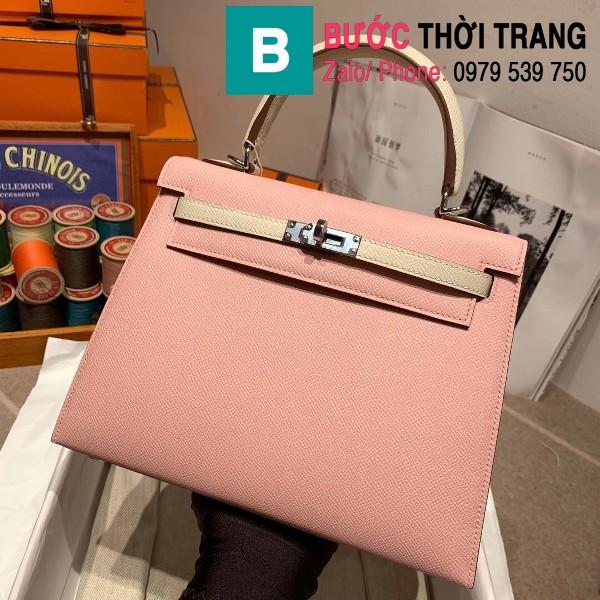Túi xách Hermes Kelly bag siêu cấp da epsom màu hồng quai trắng size 25cm