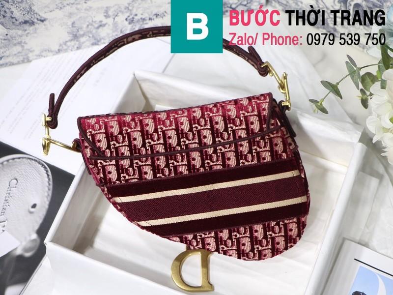 Túi xách Dior Saddle Bag siêu cấp chất liệu vải casvan màu đỏ size 25.5cm