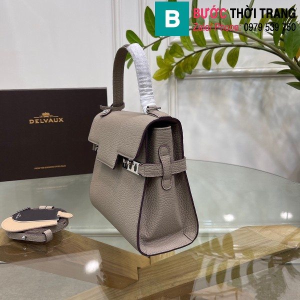 Túi xách Delvaux tempete siêu cấp da bê màu xám size 21.5cm