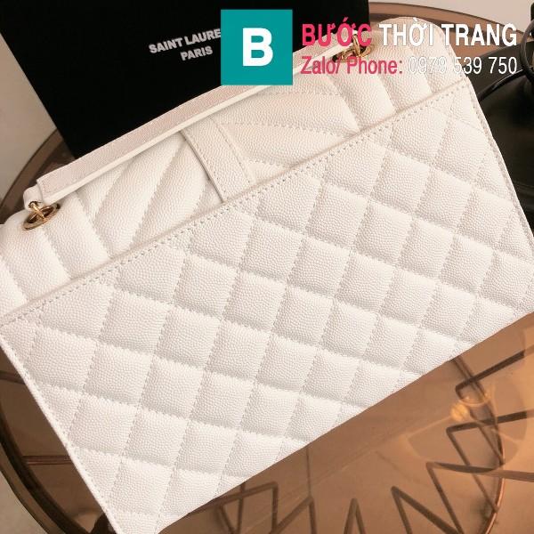 Túi xách YSL Saint Laurent Envelope bag siêu cấp da bê màu trắng size 24cm - 428134