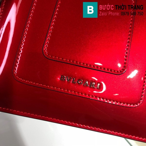 Túi xách Bvlgari Seventi forever siêu cấp da bóng màu đỏ size 18 cm