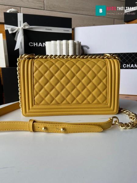 Túi xách Chanel boy siêu cấp màu vàng size 25 cm - A67086