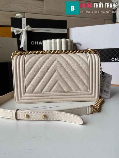 Túi xách Chanel boy siêu cấp vân v màu trắng size 25 cm - A67086
