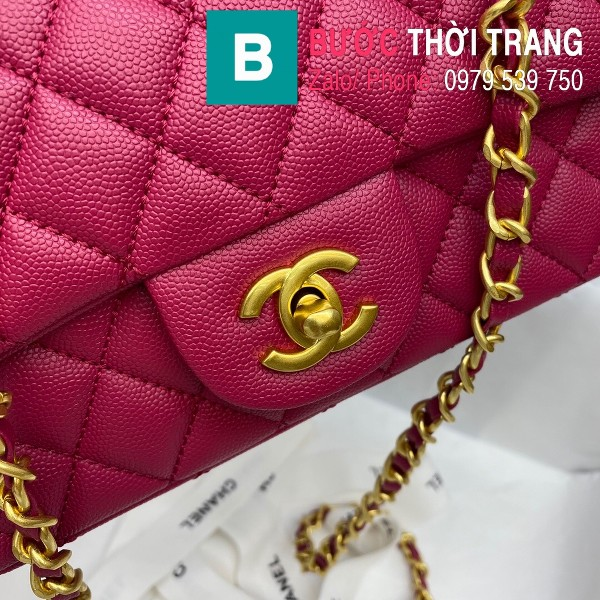Túi xách Chanel Flap Bag siêu cấp da bê hạt màu hồng đậm size 20cm - AS2431