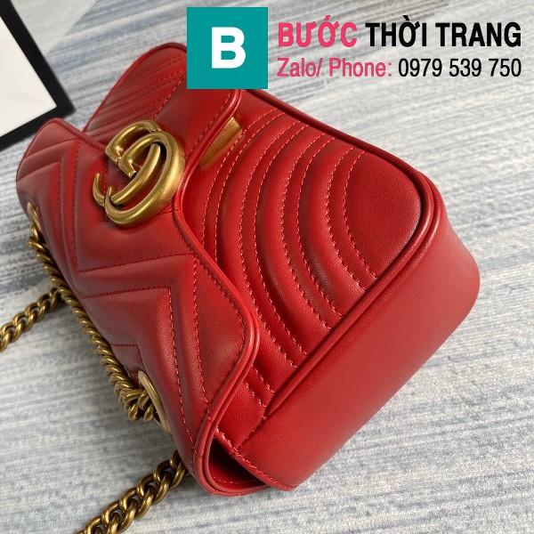 Túi xách Gucci Marmont matelasé mini bag siêu cấp màu đỏ size 22cm - 446744