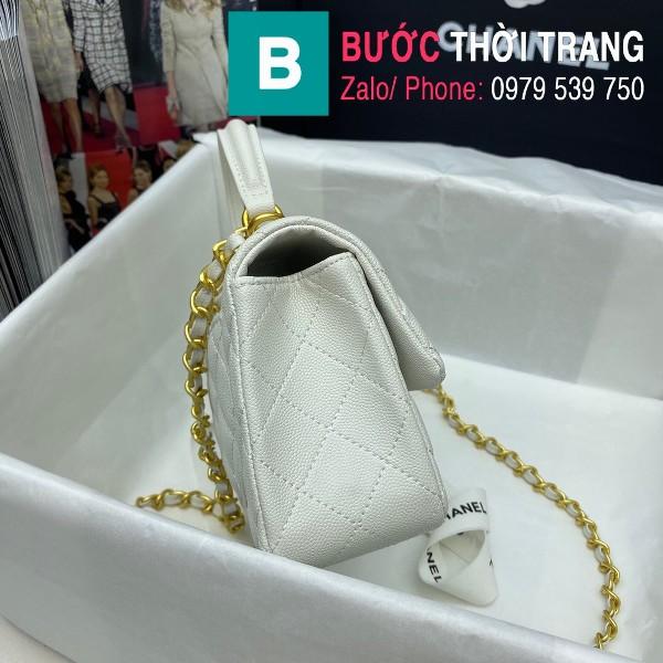 Túi xách Chanel Flap Bag siêu cấp da bê hạt màu trắng size 20cm - AS2431
