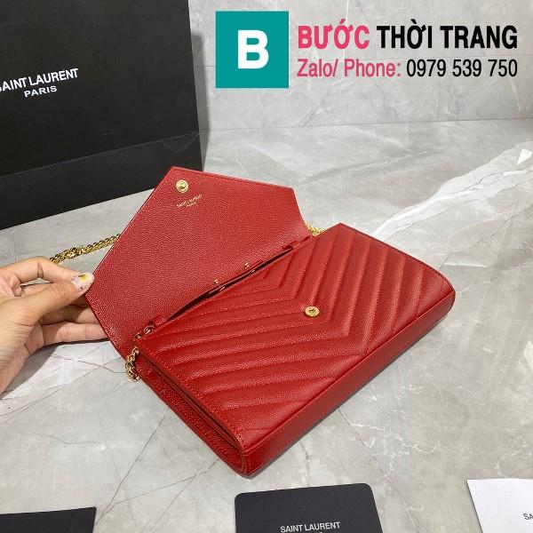 Túi xách YSL Saint laurent Monogram chanin bag siêu cấp da hạt màu đỏ size 22.5cm - 377828