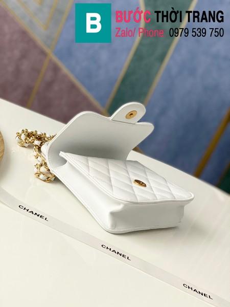 Túi xách tay Chanel mẫu mới siêu cấp da bê màu trắng size 18 cm - AS8817