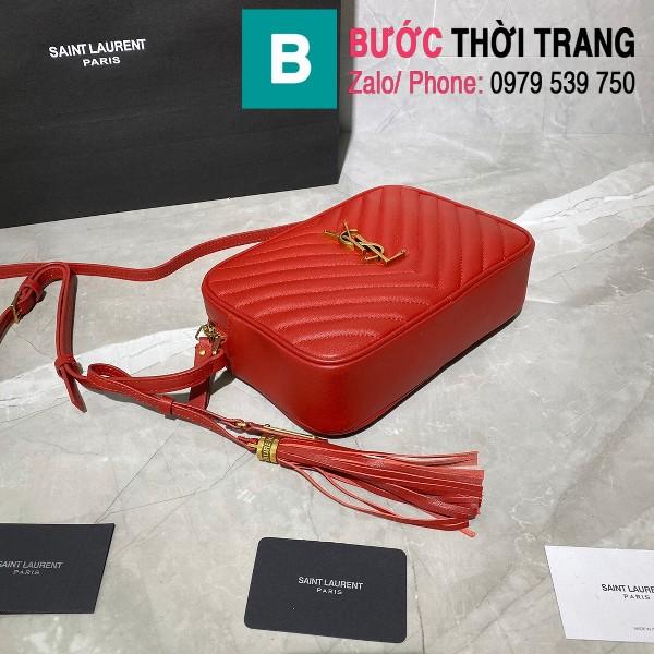 Túi đeo chéo YSL Saint Laurernt Lou siêu cấp da bê màu đỏ size 23cm - 520534