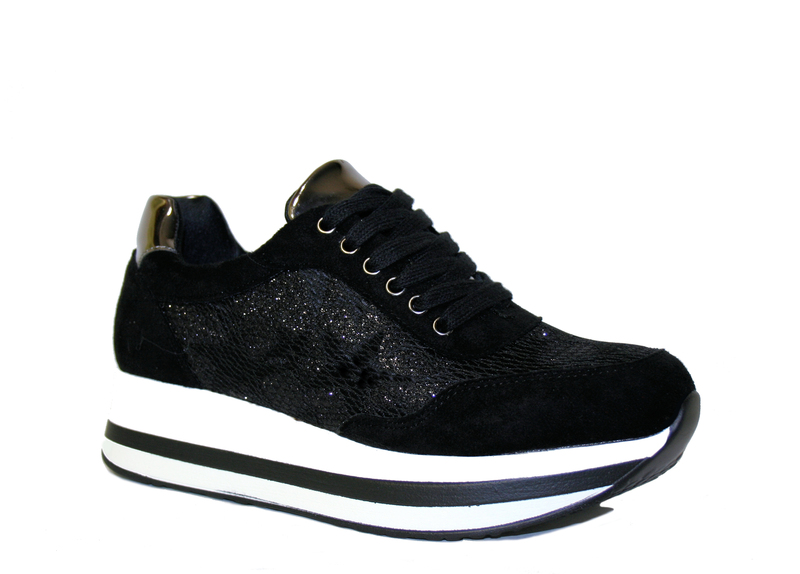 Scarpe donna Sneakers Stelle Ginnastica Glitter Platform Zeppa 4 ... 5849a93f84b