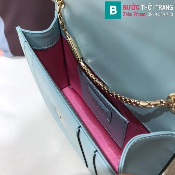 Túi xách Bvlgari serventi forever siêu cấp da bê màu xanh biển size 20 cm