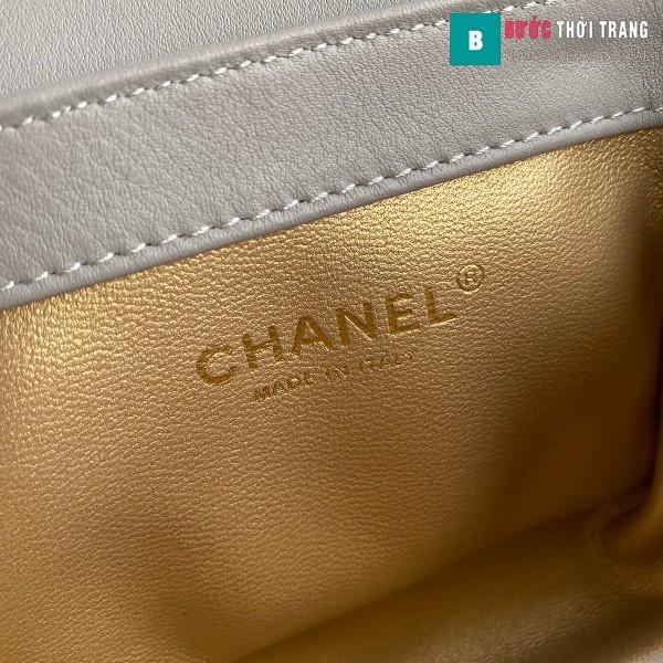 Túi xách Chanel Woke Classic Fap siêu cấp màu xám sáng cừu size 15 cm - AS2052