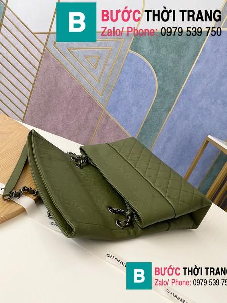 Túi đeo chéo Chanel Bag siêu cấp da cừu màu rêu size 32cm - 7095