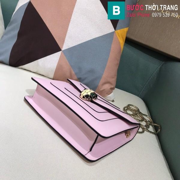 Túi xách Bvlgari serventi forever siêu cấp da bê màu hồng size 20 cm