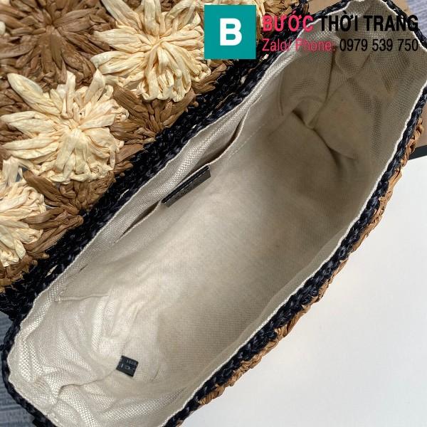 Túi đeo vai Gucci Marmont raffia siêu cấp viền đen size 26 cm - 574433