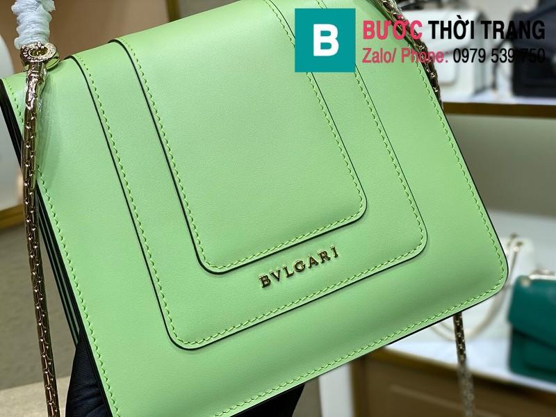Túi xách Bvlgari serventi forever siêu cấp da bê màu xanh chuối size 18 cm
