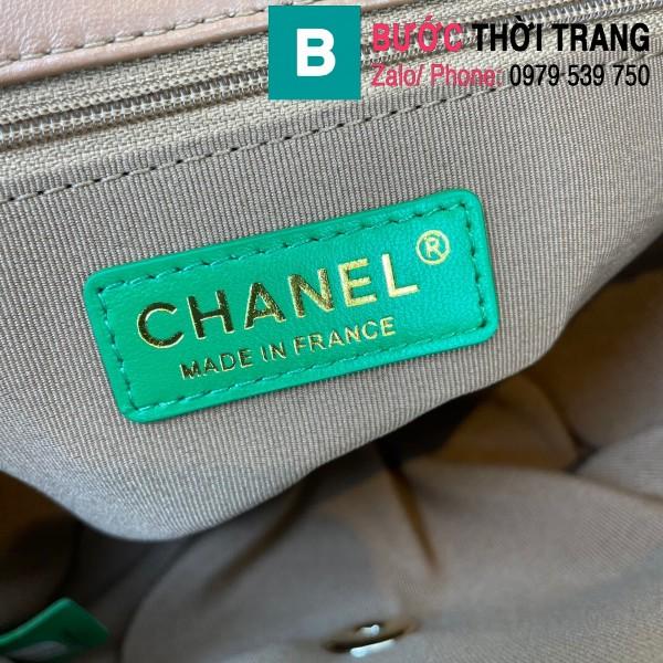 Túi đeo chéo Chanel Mini Bag siêu cấp da bê màu xanh size 19.5cm - AS2411
