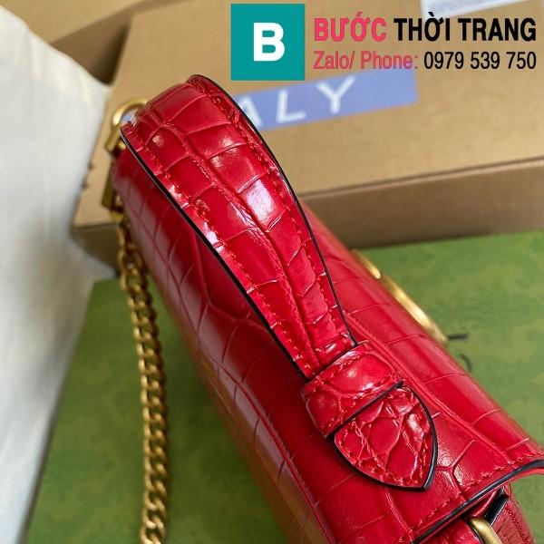 Túi xách Gucci Marmont siêu cấp da bò dập vân cá sấu màu đỏ size 21cm - 547260