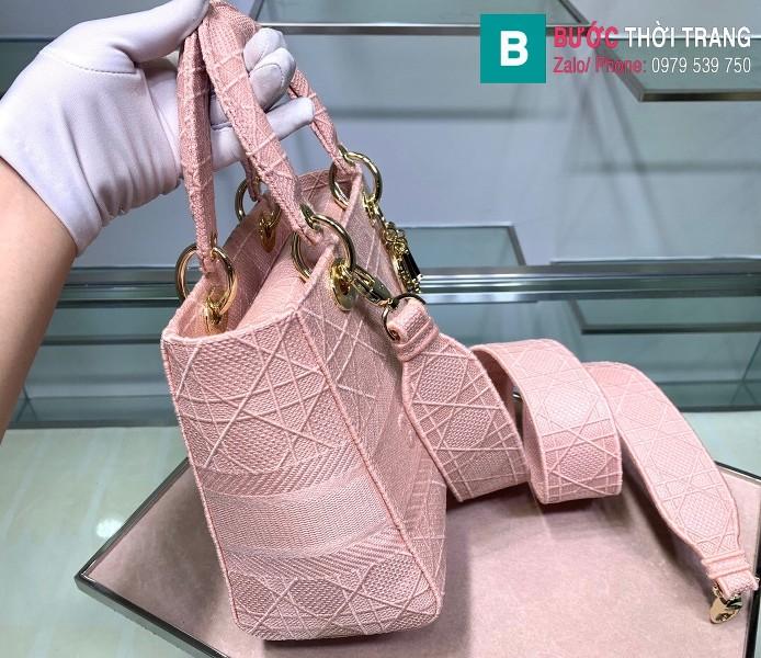 Túi xách Dior Lady vải siêu cấp màu hồng size 24cm