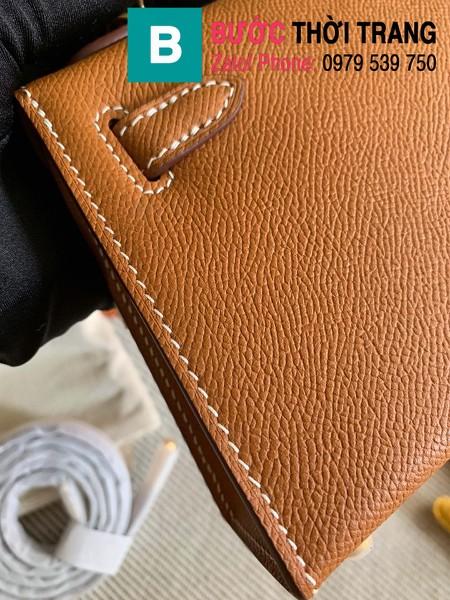 Túi xách Hermes Kelly mini siêu cấp da epsom màu nâu bò size 19.5cm