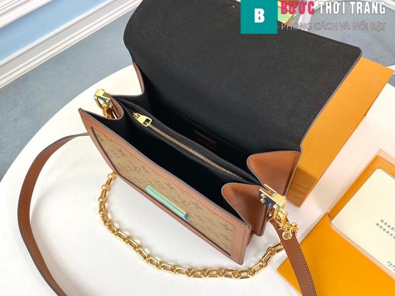 Túi xách LV Louis Vuitton Dauphine MM siêu cấp màu nâu size 25cm - M44391
