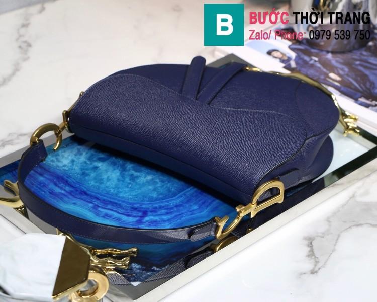 Túi xách Dior Saddle siêu cấp da bê màu xanh đen size 25.5cm - M9001