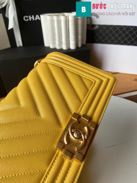 Túi xách Chanel boy siêu cấp vân v màu vàng size 25 cm - A67086