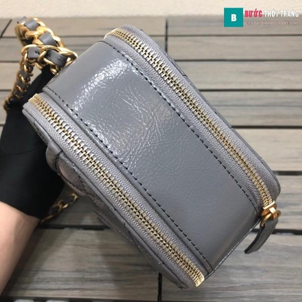 Túi xách Chanel Vanity siêu cấp màu ghi da bê size 19 cm - 2179
