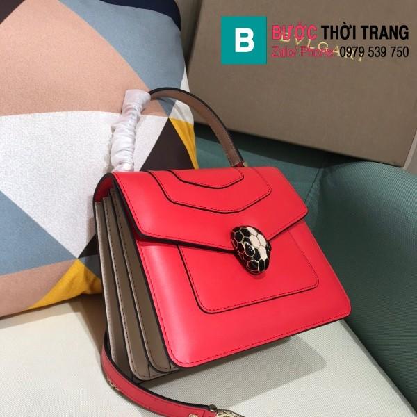 Túi xách Bvlgari serventi forever siêu cấp da bê màu đỏ size 18 cm
