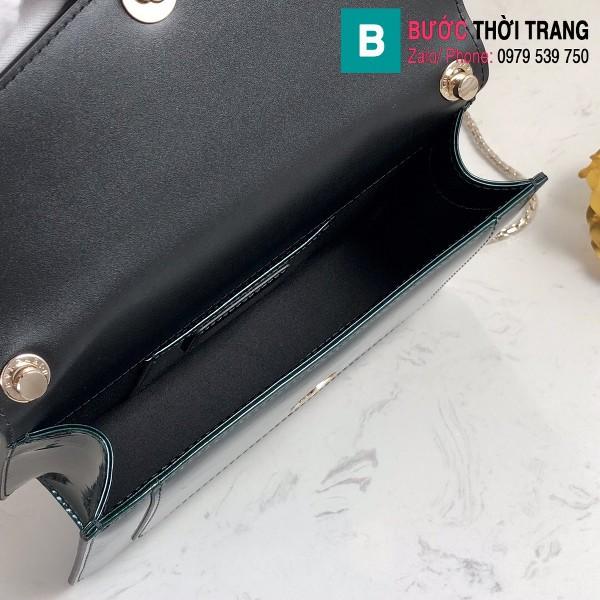 Túi xách Bvlgari Seventi forever siêu cấp da bóng màu xanh size 22 cm