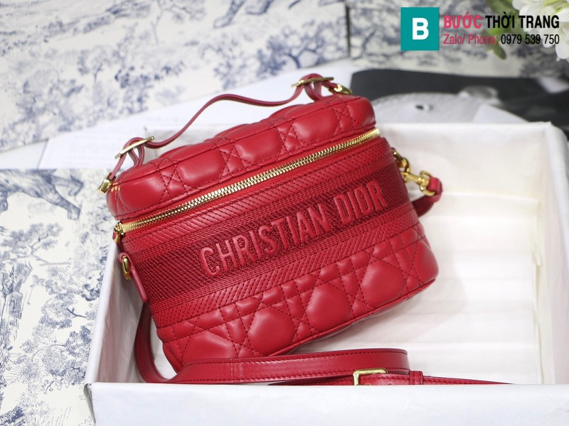Túi xách Dior Travel vanity case siêu cấp da cừu màu đỏ size 18.5cm