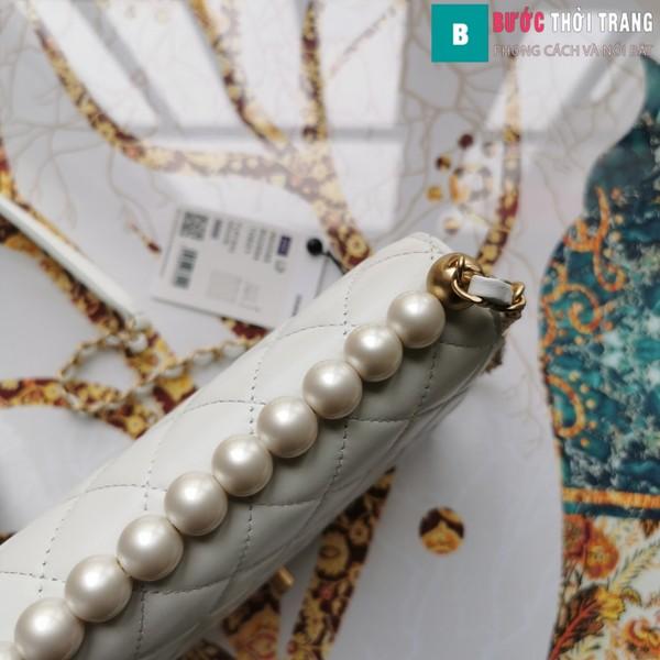 Túi xách Chanel Pearl chanin bag siêu cấp  màu trắng size 21 cm - S0585