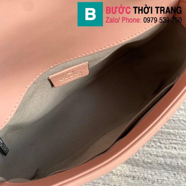 Túi xách Gucci Marmont mini top handle siêu cấp da chevron màu hồng size 21cm - 547260