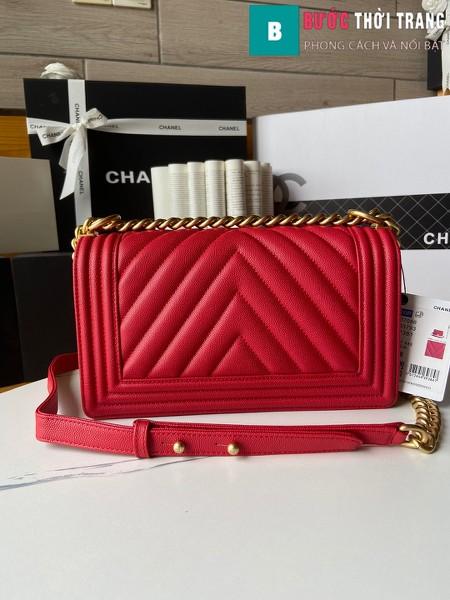 Túi xách Chanel boy siêu cấp vân v màu đỏ size 25 cm - A67086