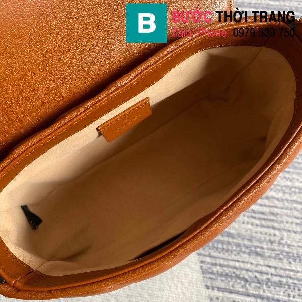 Túi xách Gucci Marmont mini top handle siêu cấp da chevron màu đồng size 21cm - 583571