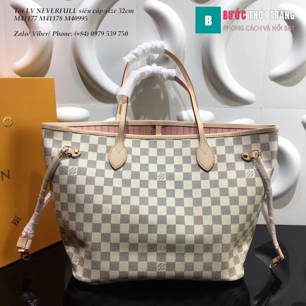 Túi LV NEVERFULL MM siêu cấp màu trắng caro lót  hồng 32cm - N41603