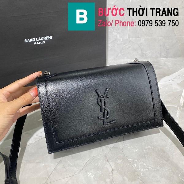 Túi đeo chéo YSL Saint Laurernt Book Bag siêu cấp da trơn màu đen tag cùng màu size 24cm - 532756