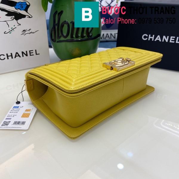 Túi xách Chanel Boy siêu cấp ô trám da bê màu vàng size 25cm - 67086