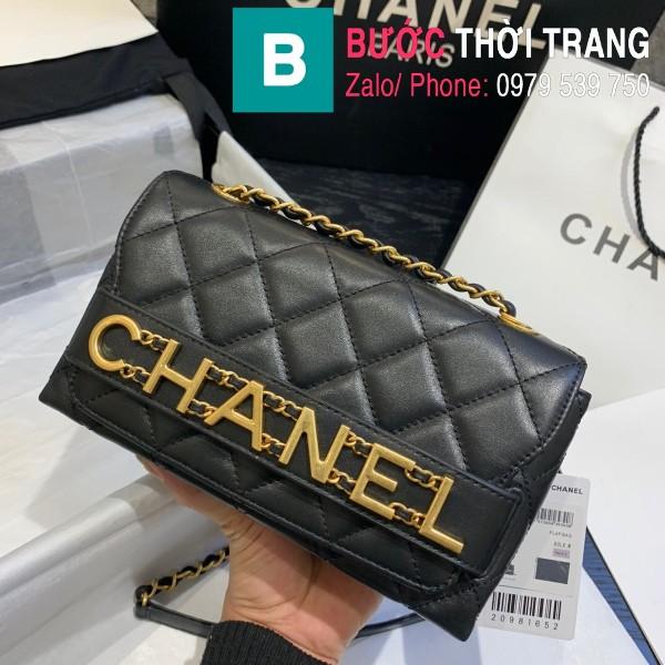 Túi xách Chanel Logo Small Flap Bag siêu cấp da bê màu đen size 21cm - AS1490