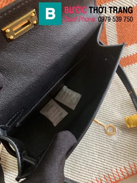 Túi xách Hermes Kelly mini siêu cấp da epsom màu đen size 19.5cm