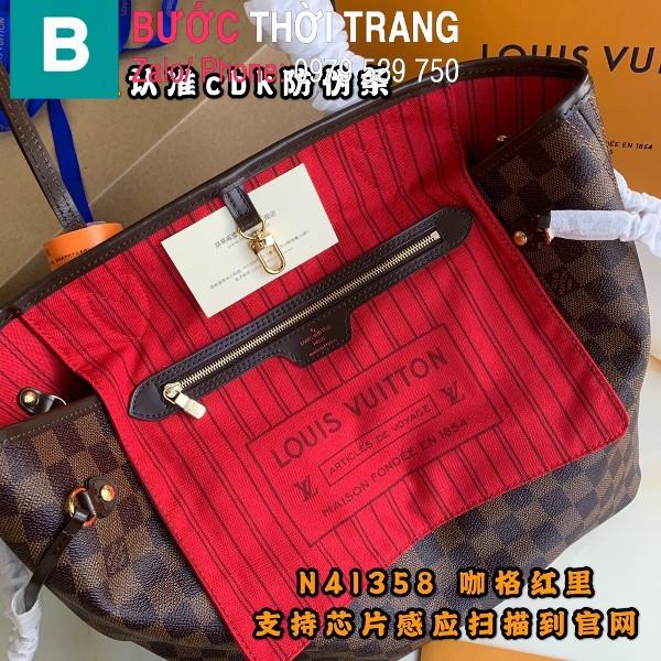 Túi xách Louis Vuitton Neverfull MM siêu cấp màu nâu kẻ cá rô size 31 cm - M41177