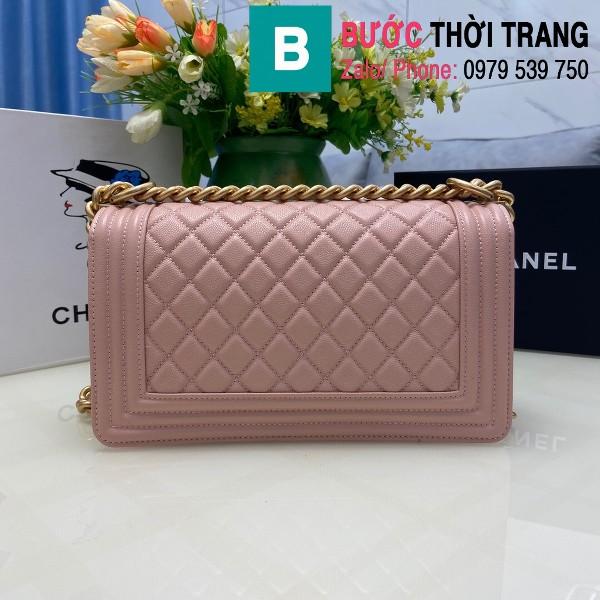 Túi xách Chanel Boy siêu cấp ô trám da bê màu hồng size 25cm - 67086