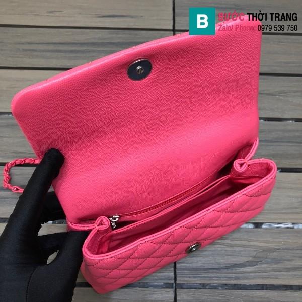 Túi xách Chanel Cocohandle Flap bag siêu cấp da bê màu hồng size 23cm - 92990